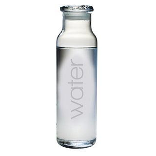 Water Etched Glass Water Bottle
