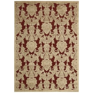 Nourison Hand-carved Graphic Illusions Red Acrylic Rug (3'6 x 5'6)