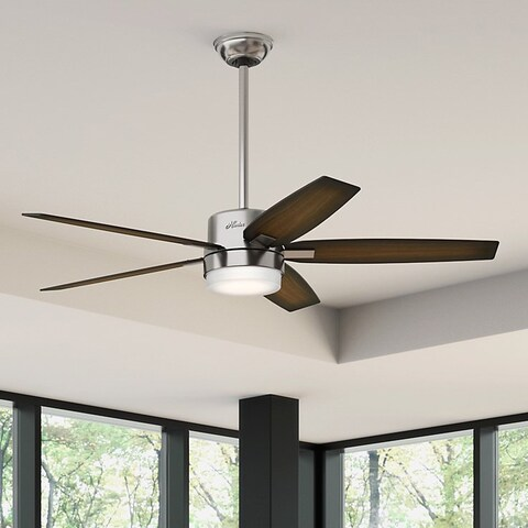 Hunter Windmere 54-inch Ceiling Fan wth Brushed Nickel Finish and Five Burnished Walnut/ Burnished Mahogany Veneer Blades