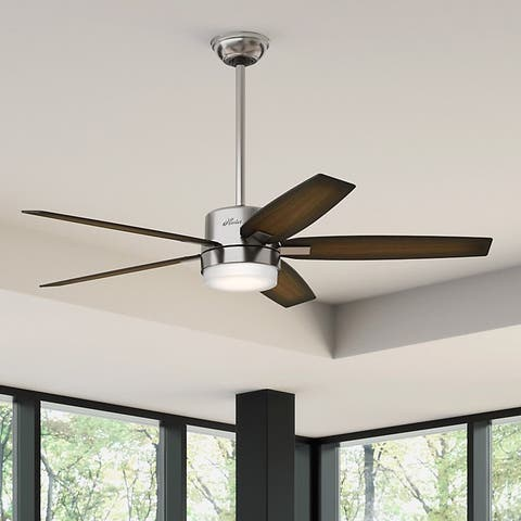 Buy hunter fan ceiling fans online at overstock our best hunter windmere 54 inch ceiling fan wth brushed nickel finish and five burnished walnut aloadofball Image collections