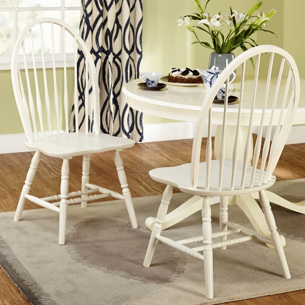Shop Simple Living Alexa Antique White Dining Chairs (Set