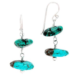 Sterling Silver Turquoise Nuggets Hook Earrings
