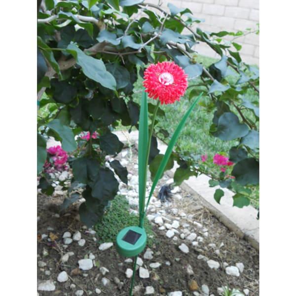 Tricod Decorative Red Bloom Onion Bloom Flower Solar Light (Set of 2)
