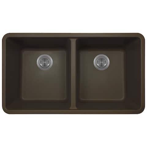 Polaris Sinks Mocha AstraGranite Double Bowl Kitchen Sink