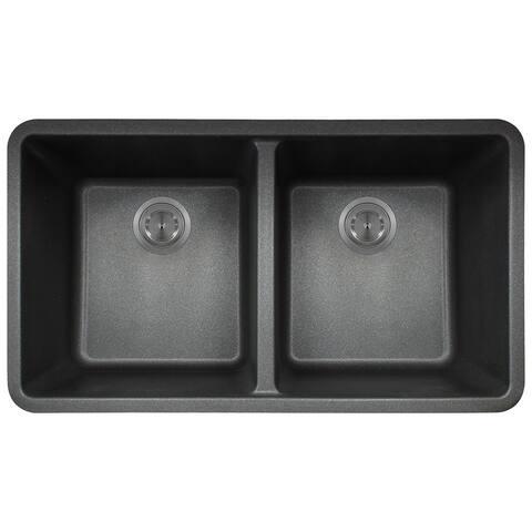 Polaris Sinks Black AstraGranite Double Bowl Kitchen Sink