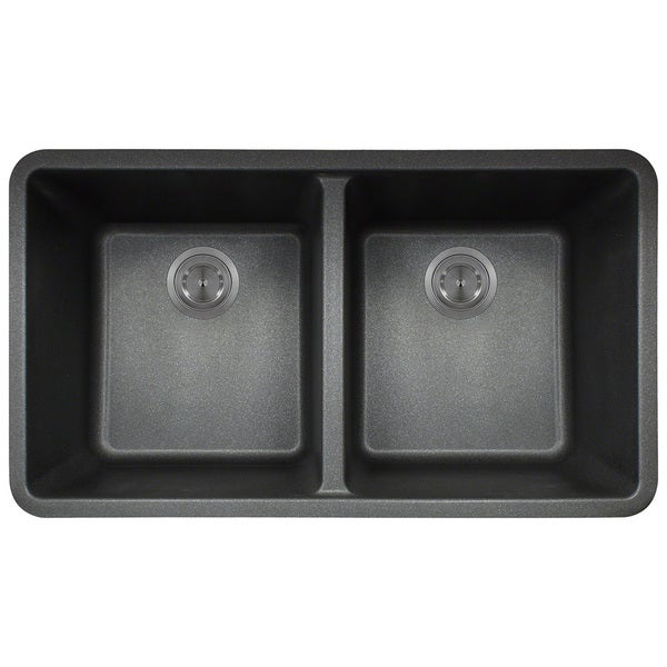 Black Double Sink Kitchen : Polaris Sinks Black AstraGranite Double Bowl Kitchen Sink - Free ...