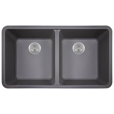 Polaris Sinks Silver Double Bowl Kitchen Sink