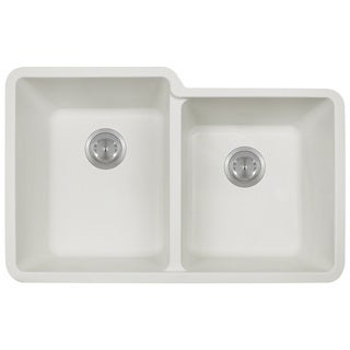 Polaris Sinks P108 White Double Offset Bowl Kitchen Sink
