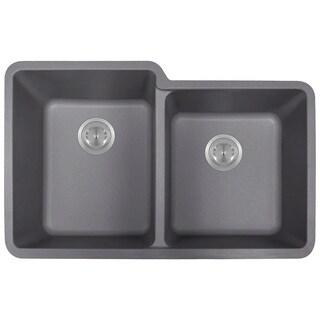 Polaris Sinks P108 Silver AstraGranite Double Offset Bowl Kitchen Sink