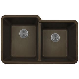 Polaris Sinks P108 Mocha AstraGranite Double Offset Bowl Kitchen Sink