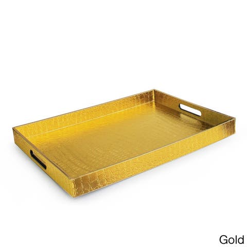 Large Rectangular Metallic Alligator Serving Tray