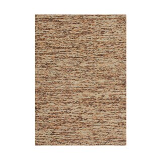 Hand-made Braided Tan New Zealand Blend Wool Rug (5'x 8')