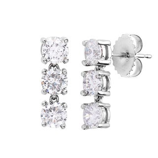 SummerRose 14k White Gold 2ct TDW Diamond Linear Earrings (G-H, S-I)