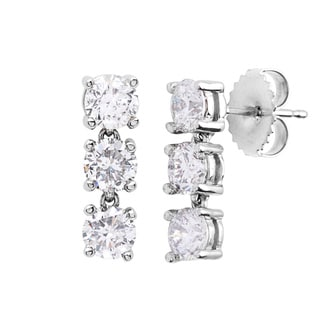 SummerRose 14k White Gold 2ct TDW Diamond Linear Earrings