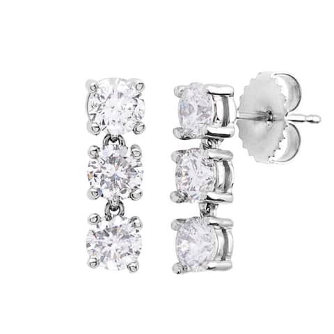 SummerRose 14k White Gold 2ct TDW Diamond Linear Earrings