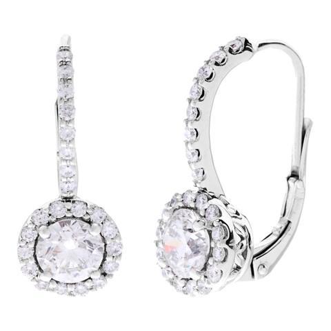 SummerRose 14k White Gold 2 1/4ct TDW Certified Diamond Leverback Earrings