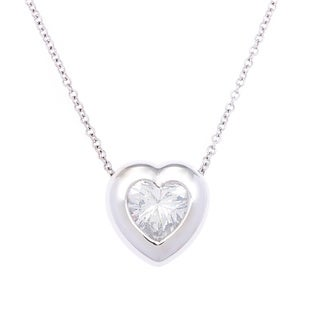 SummerRose 18k White Gold 3ct TDW Certified Diamond Heart Necklace (G-H, SI1-SI2)