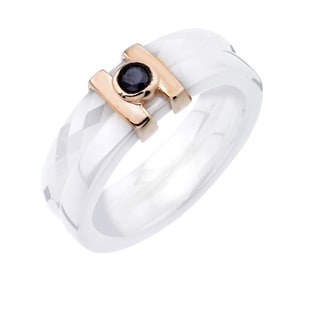 Rose Over Sterling Silver 1/10ct TDW Black Diamond Ceramic Band By Ever One (I2-I3)