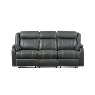 Natalie Light/ Dark Grey Bonded Leather Sofa