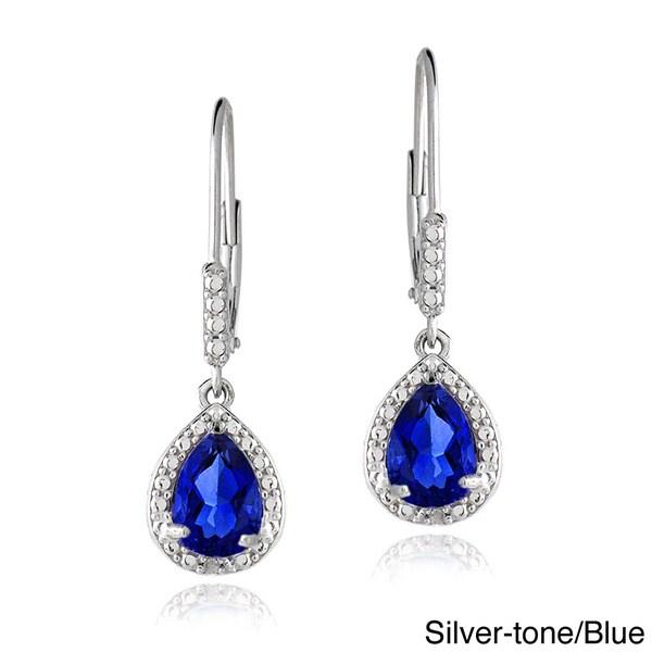 Glitzy Rocks Sterling Silver Created Gemstone and Diamond Accent Teardrop Leverback Earrings