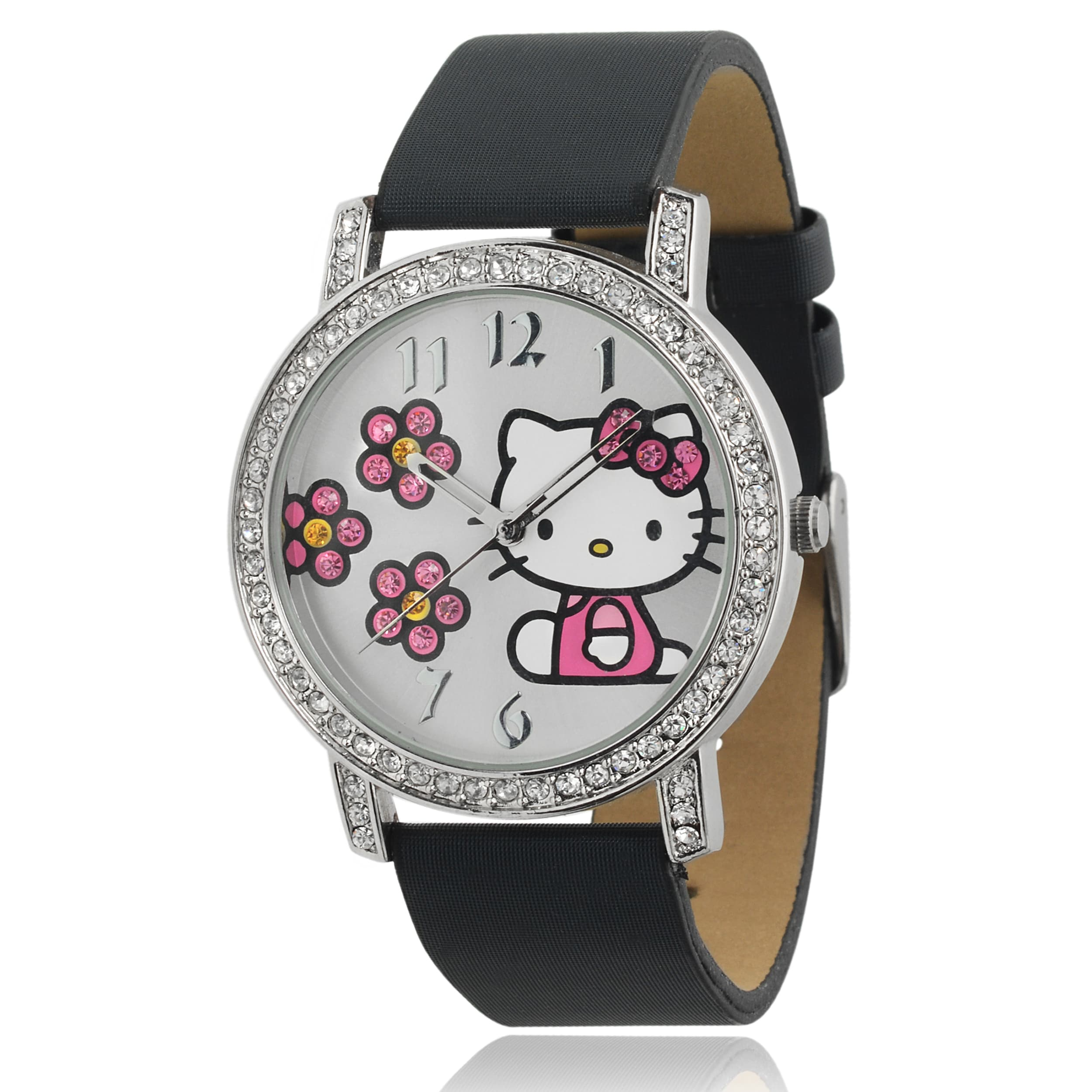 b62e9cb13 Shop Hello Kitty Women's Rhinestone-accented Satin Faux Leather Watch -  Free Shipping On Orders Over $45 - Overstock - 9017363