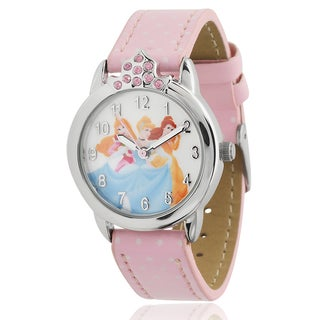 Disney Princess Girl's Rhinestone-accented Faux Leather Strap Watch
