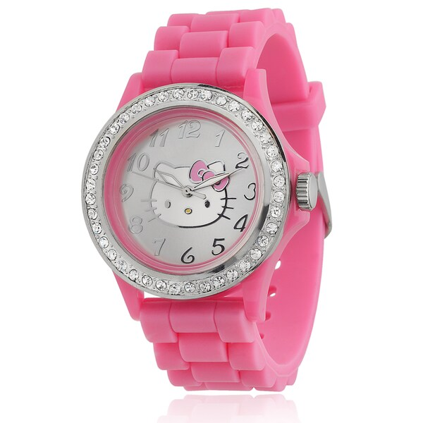 6ac25f67a Hello Kitty Women's Rhinestone-accented Pink Silicone Analog Watch