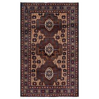 Herat Oriental Semi-antique Afghan Hand-knotted Tribal Balouchi Burgundy/ Beige Wool Rug (2'9 x 4'6)