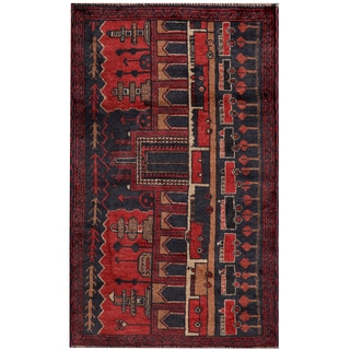 Herat Oriental Semi-antique Afghan Hand-knotted Tribal Balouchi Grey/ Red Wool Area Rug (2'7 x 4'4)