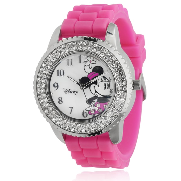 Disney Minnie Mouse Women's Rhinestone-accented Silicone Analog Watch