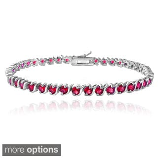 Glitzy Rocks Sterling Silver Created Ruby S Design Tennis Bracelet