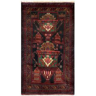 Herat Oriental Semi-antique Afghan Hand-knotted Tribal Balouchi Wool Rug (2'11 x 5')
