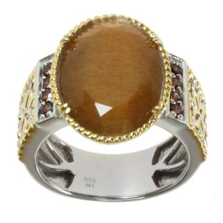 Michael Valitutti Men's Two-tone Golden Sunstone and Mocha Zirconia Ring