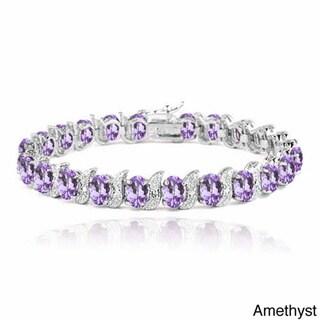 Link to Glitzy Rocks Sterling Silver Gemstones and Diamond Accent Bracelet Similar Items in Bracelets