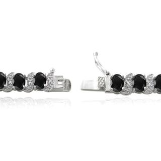 Glitzy Rocks Sterling Silver Gemstones and Diamond Accent Bracelet