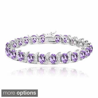 Glitzy Rocks Sterling Silver Gemstones and Diamond Accent Bracelet (5 options available)