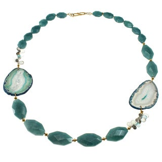 Michael Valitutti Gold over Sterling Silver Agate, Aquamarine, Quartz and Blue Topaz Necklace
