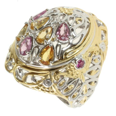 Michael Valitutti Two-tone Pink and Yellow Sapphire Ring