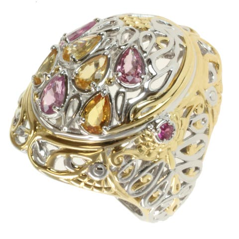 Gems en Vogue Two-tone Pink and Yellow Sapphire Ring