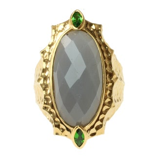 Michael Valitutti Gold Over Sterling Silver Grey Moonstone and Chrome Diopside Ring