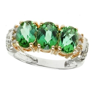 Michael Valitutti 14k Two-tone Gold Sea Green Tourmaline and Diamond Ring