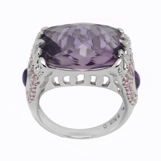 De Buman Genuine Amethyst and White Topaz Sterling Silver Ring