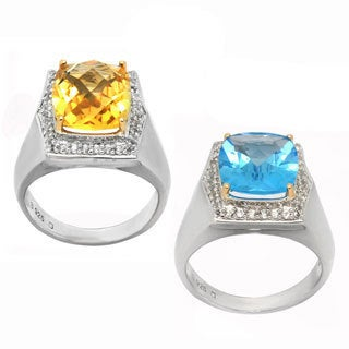 De Buman 14k Yellow Gold and Sterling Silver Citrine or Swiss Blue Topaz Gemstone Ring