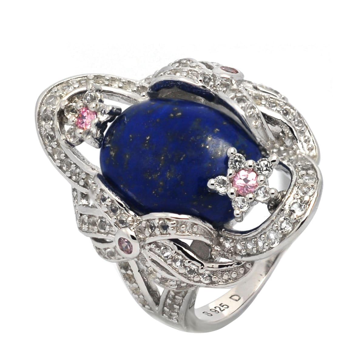 De Buman Genuine Lapis Sterling Silver Ring (6.75), Women...