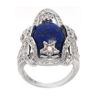 De Buman Genuine Lapis Sterling Silver Ring