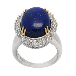 De Buman 14K Yellow Gold and Sterling Silver with Genuine Lapis and White Topaz Ring