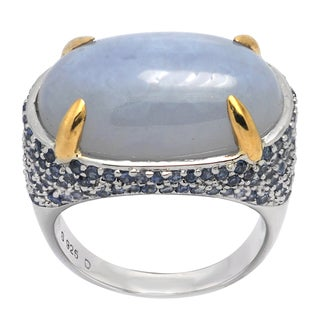 De Buman 14k Yellow Gold and Sterling Silver Blue Multi-gemstone Ring