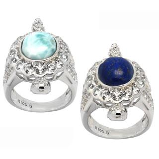 De Buman Sterling Silver Genuine Lapis or Larimar Gemstone with White Topaz Turtle Ring