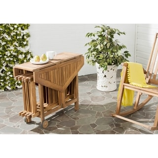 Safavieh Kerman Finish Brown Acacia Wood 5-piece Outdoor Dining Table Set