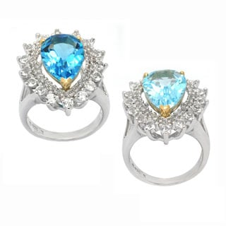De Buman 14k Yellow Gold and Sterling Silver Genuine Blue Topaz Ring